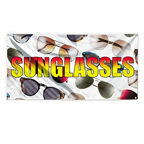 Sunglasses #1 Outdoor Advertising Printing Vinyl Banner Sign With Grommets - 4ftx8ft, 8 Grommets by Sign Destination