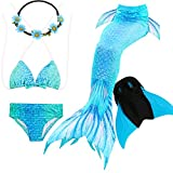 GALLDEALS Mermaid Tails Swimming Monofin Girls Kids Swimwear Bathingsuit