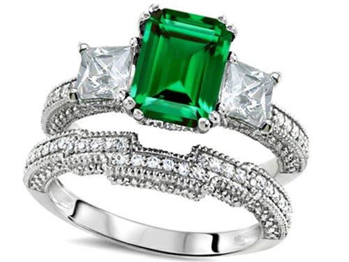 Star K Emerald Cut 8x6mm Simulated Emerald Engagement Wedding Set Size 8