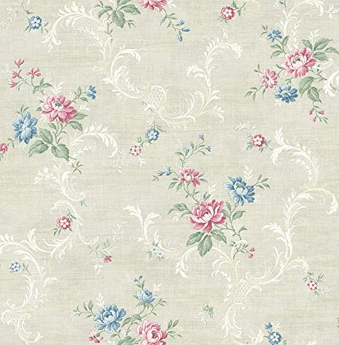 Tossed Floral Scroll Wallpaper in Cool Primary MV80101 from Wallquest