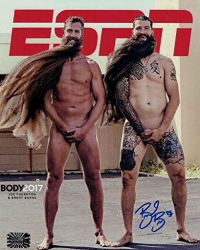 Brent Burns San Jose Sharks Signed ESPN Body Issue Cover 8x10 W/Joe Thornton