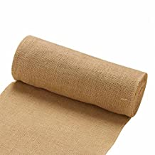 vLoveLife 12'' x 10yards Natural Burlap Roll Fabric Rustic Pure Jute Burlap Hessian Table Runner Tape Ribbon Trims Bow Making Materail