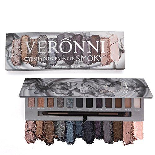 VERONNI Eye Makeup Marble Eyeshadow Palette 6 Glitter 6 Matte 12 colors High Pigment Shimmer Warm Eye Shadow Palette (Smoky)