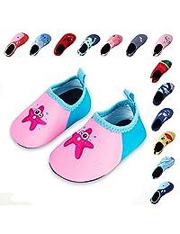 Lauwodun Kids Swim Water Shoes Boys Girls Toddler Barefoot Aqua Sock Shoes for Beach Pool Surfing Yoga Swimming Walking Unisex