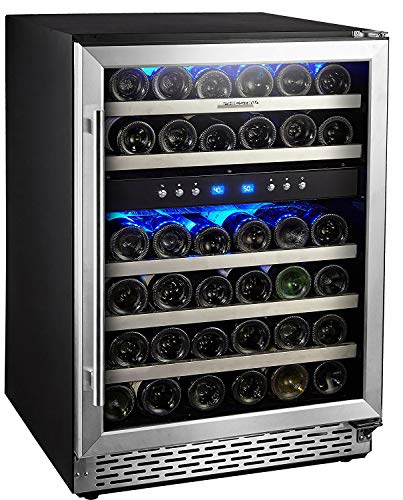 (Phiestina 24 Inch Built-in or Free-Standing 46 Bottle Wine Cooler Refrigerator. Pro Stainless Steel Frame & Door, Handle. Sliding Racks. Compressor Cooling with Press Button Temperature Setting)