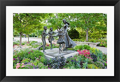 Flat Wall Bronze Clear (Bronze Statue of Mother and Children, Temple Square, Salt Lake City, Utah, USA by Panoramic Images Framed Art Print Wall Picture, Black Flat Frame, 38 x 26 inches)
