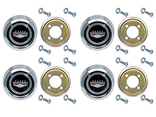 New Magnum 500 Black Wheel Center Caps for Ford Galaxie Fairlane Falcon Torino Falcon Monterey ()