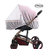 SYOOY 2 PCS Mosquito Net Baby Carriage Netting Cover for Baby Strollers Cribs Car Seats Cradles White