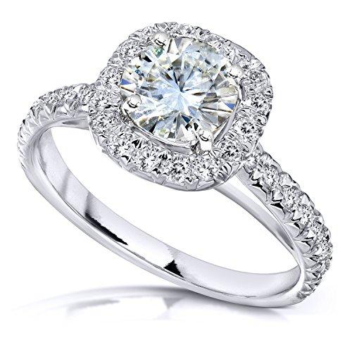Round Moissanite Engagement Ring with Halo Diamond 1 2/5 CTW 14k White Gold