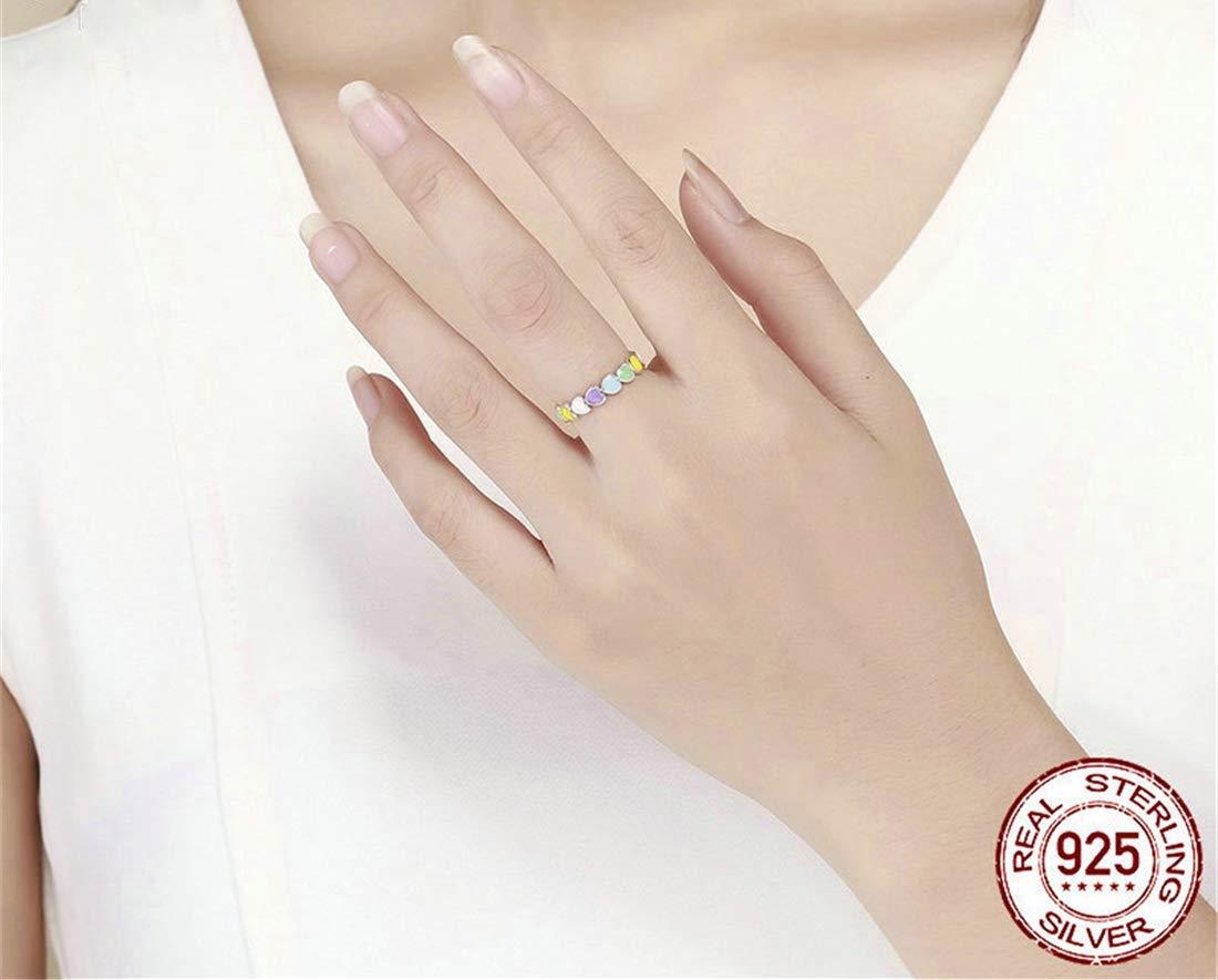 VJUKUBCUTE Dreamy Fashion 925 Plata para Mujeres Anillo Sliver Rainbow Ring-Gay & Lesbiana Orgullo Anillo Grande como Regalo Gay o Boda Matrimonio o Banda ...