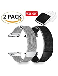 (2 Pack) GP Watch Band 42mm Milanese Loop Mesh Strap for iWatch Series 3 2 1 Bands 42mm - 2xScreen Protectors