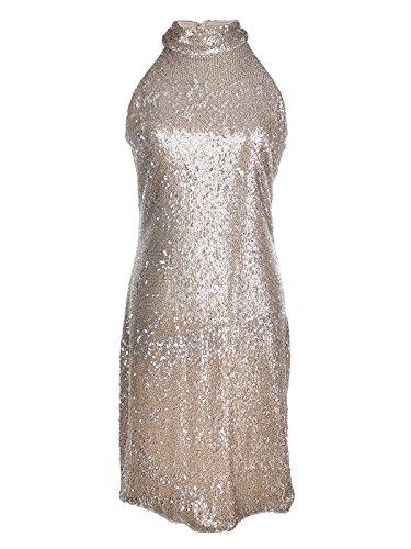 Anna-Kaci Womens Sleeveless Champagne Sequin High Neck Cocktail Dress With Keyhole, Gold, Small