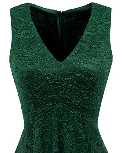 bridesmay Brautjungfernkleider Green Elegant unregelmäßig Damen Dark Cocktail Spitzenkleid pwFr1qpx
