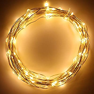 Battery Powered 20ft 60 LEDs Fairy LED String Lights, 8-Mode Novelty Starry Lights with Timer Mode, Flexible Wire for Festival, Holiday, Christmas,Wedding & Party,Waterproof-Warm White