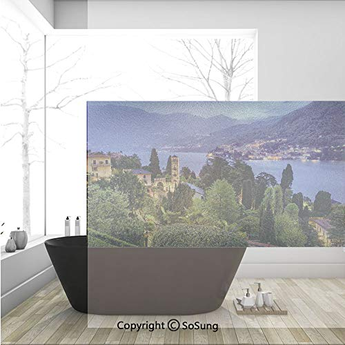 (3D Decorative Privacy Window Films,Lago Di Camo Lake Famous Coastal Village with Aerial View Picturesque Panorama Decorative,No-Glue Self Static Cling Glass film for Home Bedroom Bathroom Kitchen Offi)