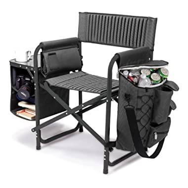 Picnic Time Original Design Outdoor Folding Fusion Chair, Gray with Black Frame