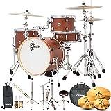 Gretsch Drums Jazz Catalina Club(CT1-J484-SWG-KIT-6) 4 Piece Drum Shell Pro Pack with Hardware & Zildjian Cymbals, Satin Walnut Glaze