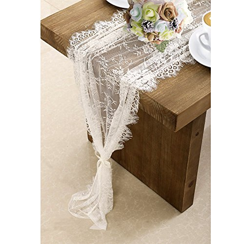 Cloth Table Runner - OurWarm 120in x 14in Vintage Wedding Lace Overlay Table Runner White Floral Lace Table Runners Chair Sash for Rustic Chic Boho Wedding Table Decor, Baby & Bridal Shower Party Decor