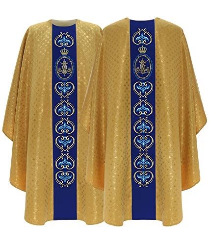 Gold/blue Marian Gothic Chasuble Vestment G765-GN61 - Chasuble Brocade
