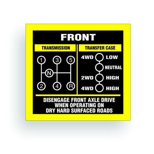 Solar Graphics USA Transmission Shift Pattern Decal - Compatible with Jeep, Willys Or CJ May Fit Transmission and Transfer Case Models Dana 300, 5 Speed, Single Stick - 3x2.75 inch