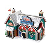 Department 56 North Pole Village Cars Holiday Detail Shop Lit House, 5.55 inch