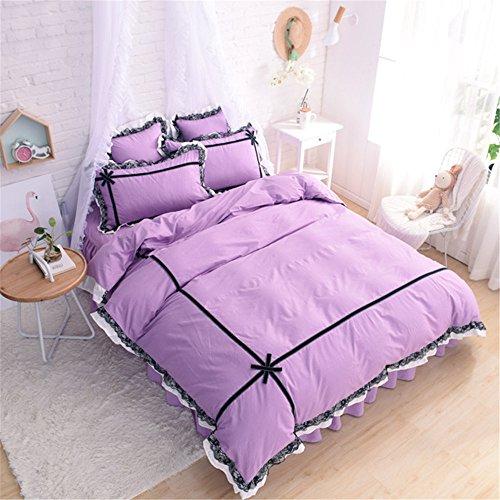 Friends Quilt Set (Lotus Karen Romantic Black Lace Ruffles Korean Princess Bedding Set With Bow-knots Solid Purple 100%Cotton 4PC Girls Duvet Cover Set,1Duvet Cover,1Bedskirt,2Pillowcases King Queen Full Twin Size)