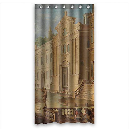Cosbudy Bath Curtains Of Beautiful Scenery Landscape Painting Polyester Width X Height / 36 X 72 Inches / W H 90 By 180 Cm Best Fit For Girls Father Gf Boys Kids Girl. Easy Clean. Fabric Damask Resource Pattern