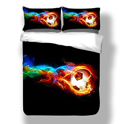 ADASMILE A & S Twin Boys Soccer Bedding Sets 3D Teen Sports Comforter Cover Sets 3PCS 1 Duvet Cover+2 Pillow Shams,(Comforter not Included)