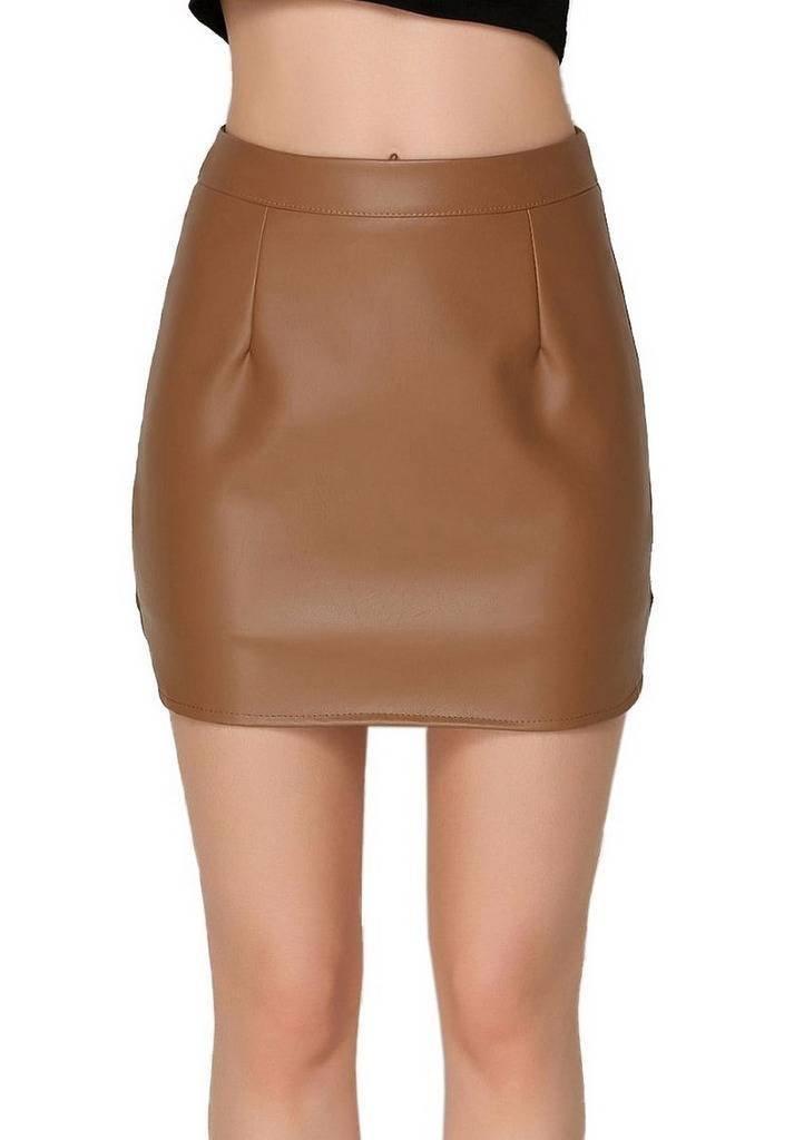 COMVIP Womens Casual PU Leather Zipper Solid A-line Short Skirts Light Khaki M