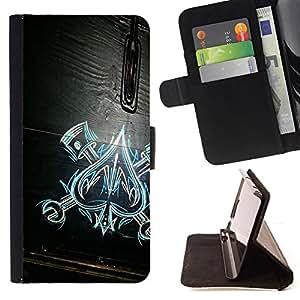 - Ace Of Spades Work Mechanic Wood Pattern - - Prima caja de la PU billetera de cuero con ranuras para tarjetas, efectivo desmontable correa para l Funny HouseFOR LG G2 D800