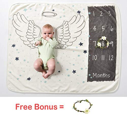 Baby Monthly Milestone Blankets Angel Wings Newborn Age Blanket Soft Plush Fleece Boy Kids Travel Blankets 0-12 months]()