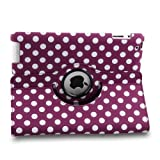 Auto Sleep/Wake Function 360 Degree Rotating Smart Case Cover for 7.9 inch Apple iPad Mini/iPad Mini 2 with Retina with a Stylus as a Gift--Polka Dot Pattern,Purple