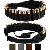 BronzeDog Handmade Leather Shotgun Shell Cartridge Belt Holder Bandolier, Buttstock Shell Holder 12 Gauge for Rifles, Hunting Ammo Pouch Bag, 12 ga Shotgun Shell Pouch Black Brown Khaki Grey (Black)
