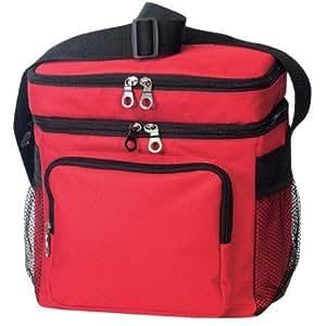 Rojo–Deluxe Poly enfriador de deporte al aire libre con bolsa para el almuerzo