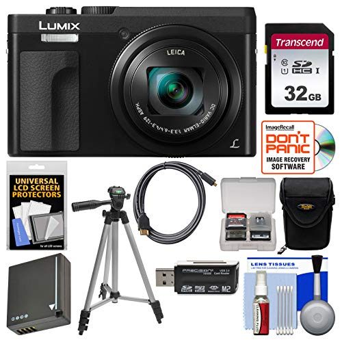 Panasonic Lumix DC-ZS70 4K Wi-Fi Digital Camera (Black) with 32GB Card + Case + Battery + Tripod + Kit