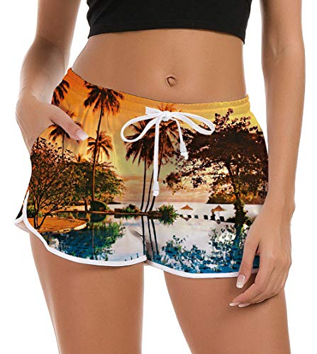 Women's Swimming Shorts Junior Girls Sea Board Shorts Fashion Beach Unique Tropical Surf Boxer Lounge Pattern Swim Trunks Camp Swimsuit Bottom Active Beachwear Cover Ups Loose Sweatpants XL