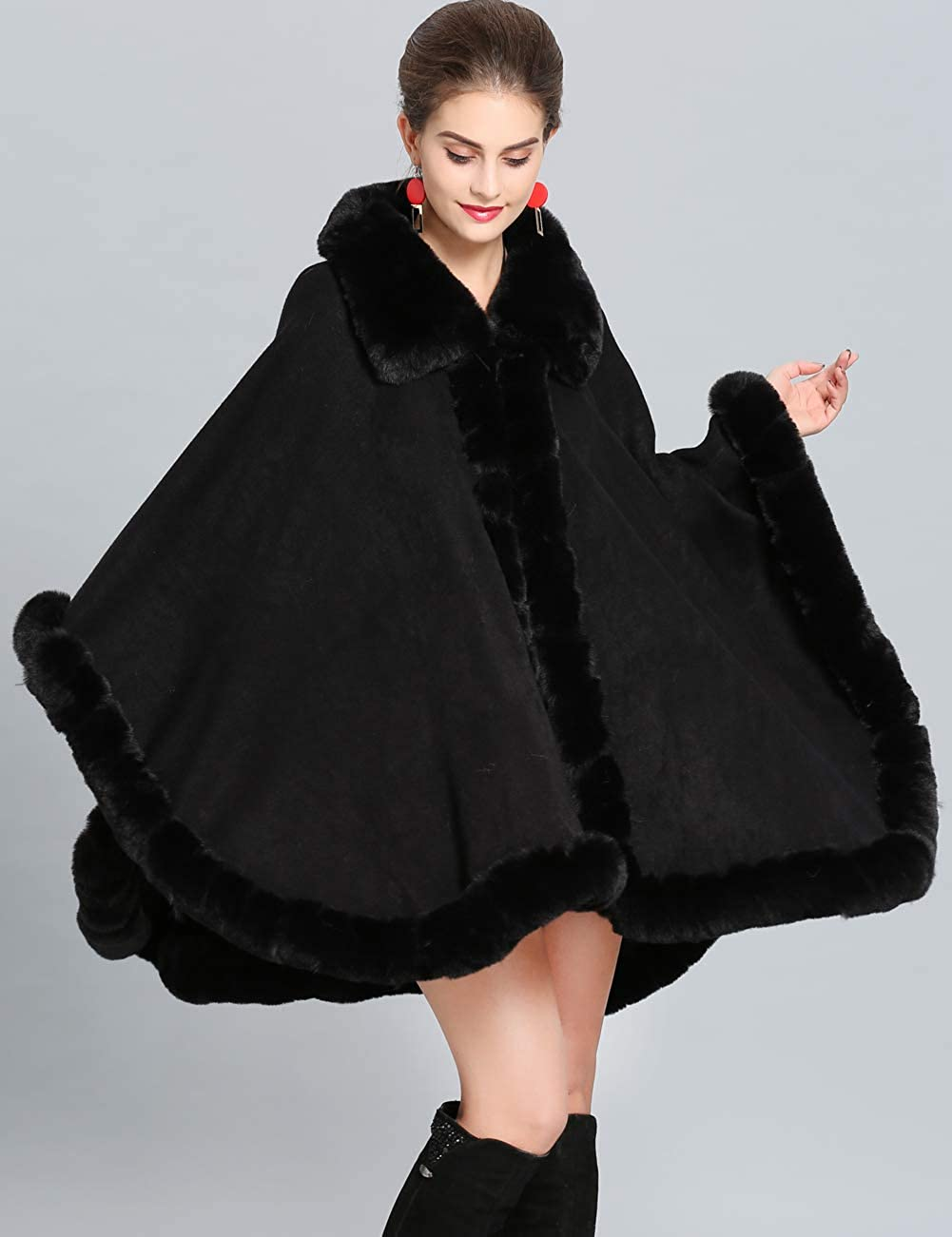 3a0645c1677 Aphratti Women s Wrap Shawl Cape Coat with Luxury Faux Rex Rabbit Fur Collar  Without Arm Slits One Size Black at Amazon Women s Coats Shop