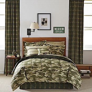 Amazoncom Teen Boy Green Brown Camouflage Twin Comforter Set - Black and grey camouflage comforter set
