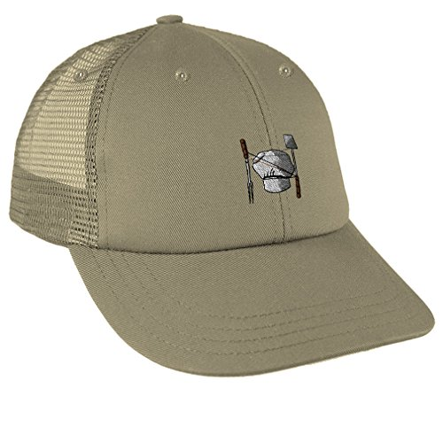 Speedy Pros Chef Set Utensil Embroidery Unisex Adult Snaps Cotton Low Crown Mesh Golf Snapback Hat Cap - Khaki, One Size