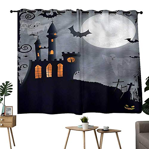 Jaydevn Party Darkening Curtains Grommets Curtain for Bedroom Vintage Halloween,Scary Bats Ghosts Drapes/Draperies W72 x L63 ()