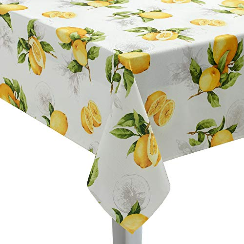 (Benson Mills Limoncello Tablecloth 70'' Round White/Yellow/Green)