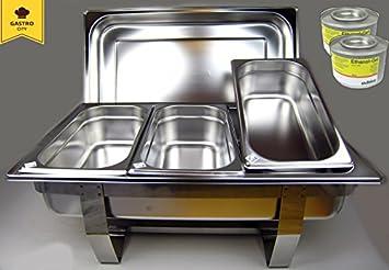 Calentador de Platos Acero Inoxidable 11 piezas Set Depósito de mantenimiento en caliente Chafing Dish 100