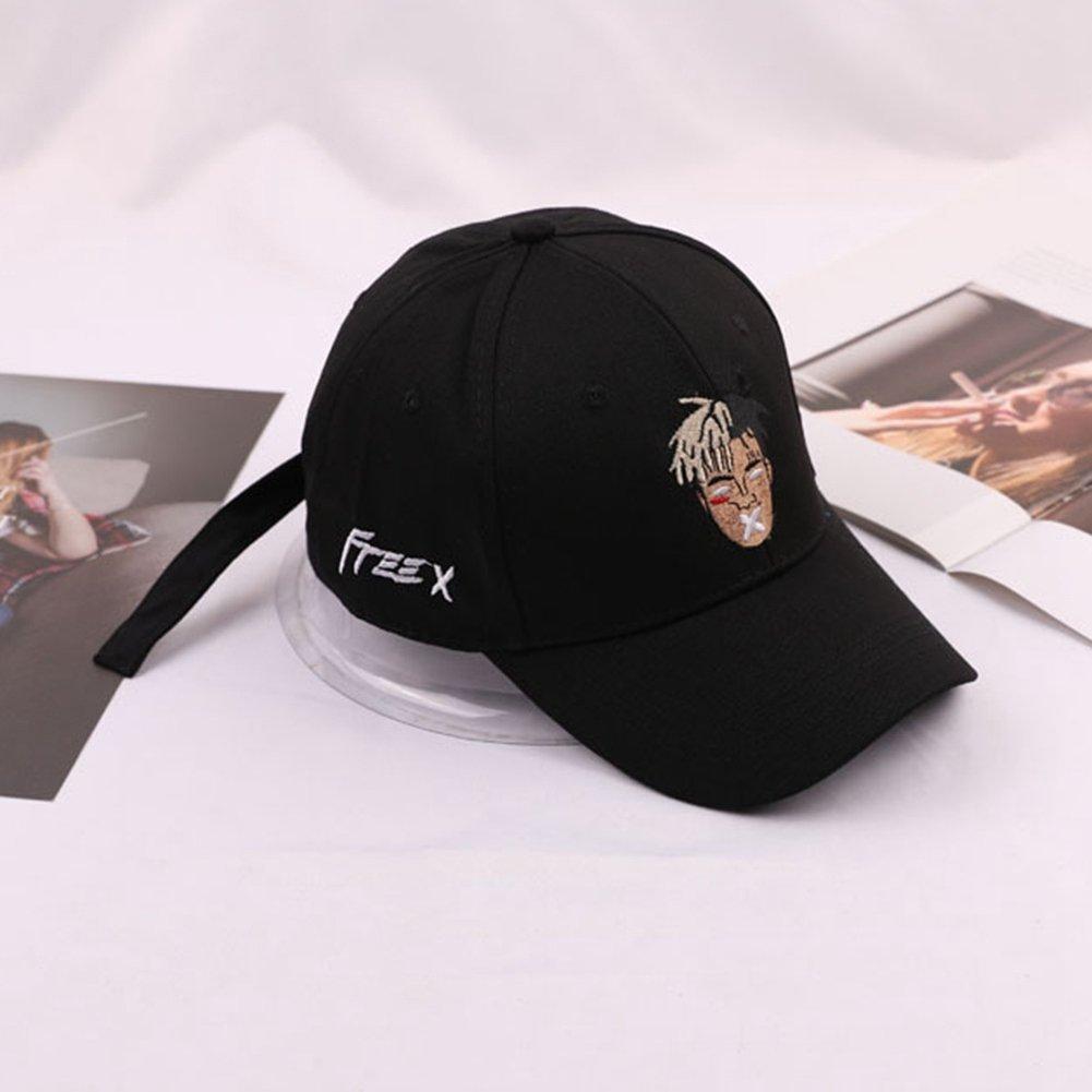 f4b66cbbafb Amazon.com  Detroital Unisex Xxxtentacion Rapper Hat Adjustable Baseball  Cap Dad Hat(Black)  Sports   Outdoors