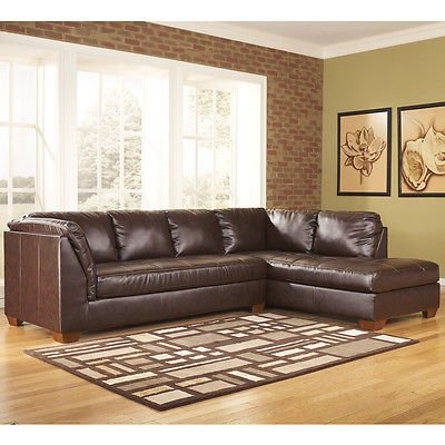 Ashley Fairplay Sectional with Right Side Facing Chaise - Mahogany Soft Leather (Living Room Mahogany Chaise)