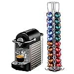 Porta-Capsule-Girevole-Caffe-Nespresso-Dispenser-40-Posti-Rotante-Distributore-Cromo-dArgento-4-Colonne-Accessori-per-Macchine-da-Caff-40-Nespresso-40