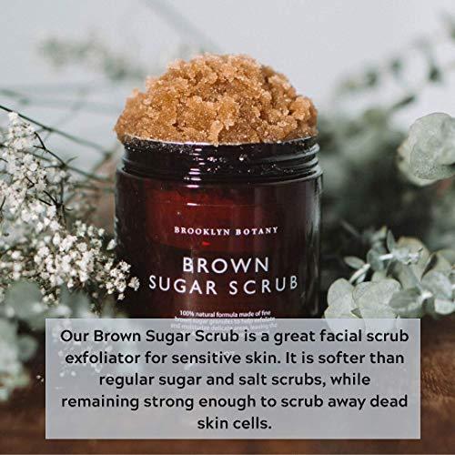 Brooklyn Botany Brown Sugar Body Scrub - Great as Face Scrub & Exfoliating Body Scrub, Stretch Marks, Foot Scrub, Great Gifts For Women - 10 oz