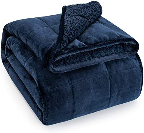 Sivio Sherpa Fleece Weighted Blanket for Adult, 20lbs Heavy Fuzzy Throw Blanket with Soft Plush Flannel, Reversible Full-Size Super Soft Extra Warm Cozy Fluffy Blanket, 60x80 Inch Dual Sided Navy Blue