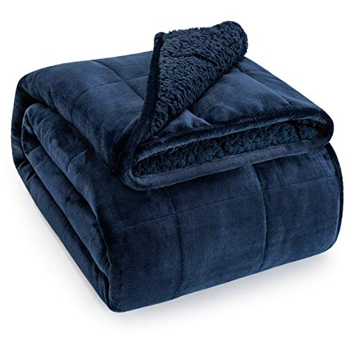 Wemore-Sherpa-Fleece-Weighted-Blanket-for-Adult-20-lbs-Dual-Sided-Cozy-Fluffy-Heavy-Blanket-Ultra-Fuzzy-Throw-Blanket-with-Soft-Plush-Flannel-Top-60-x-80-inches-Queen-Size-Navy-Blue-on-Both-Sides