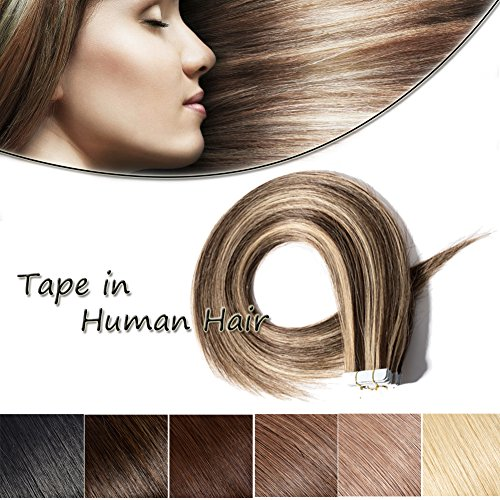 Seamless Remy Tape in Hair Extensions Real Human Hair 18inch Medium Brown&Dark Blonde Tape on Skin Weft Hair Extensions (18''Straight,50g/20Pcs,#4&27)+ 10pcs Free Tapes (Wavy Tape In Real Hair Extensions)