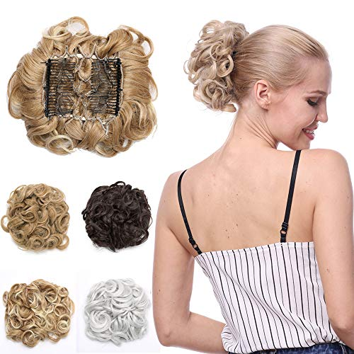 - Messy Curly Combs Hair Bun Extensions Easy Stretch Hair Dish Chignon Clip in Updo Hairpiece Ponytail Scrunchy Accessory for Women Bleach Blonde